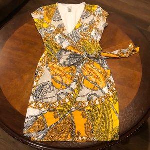 Cache Paisley & Chain Wrap Dress Medium
